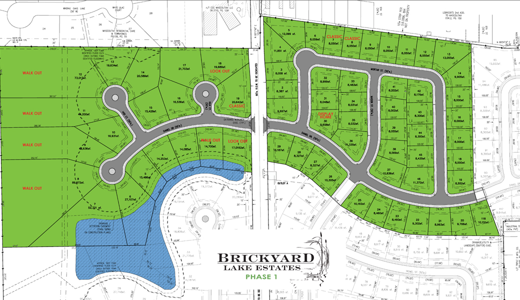 Brickyard Lake Estates Available Lot Map by Homes by Deesign